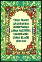 Majmua Surah Yasin, Rahman, Waqiah, Muzzammil, Mulk, Sajda, 4 Quls ( Size:  9 5 X6 CM) Pouch